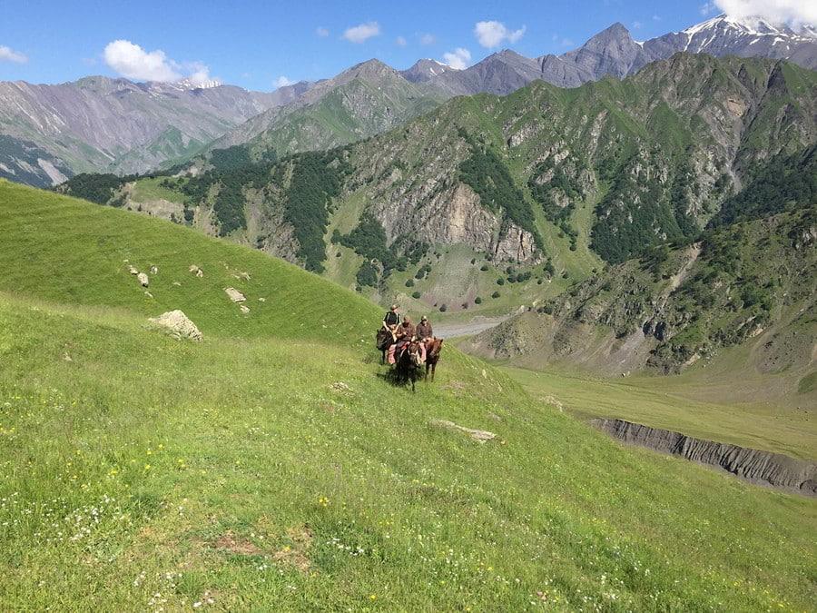 Hunters on a horse in Azerbaijan