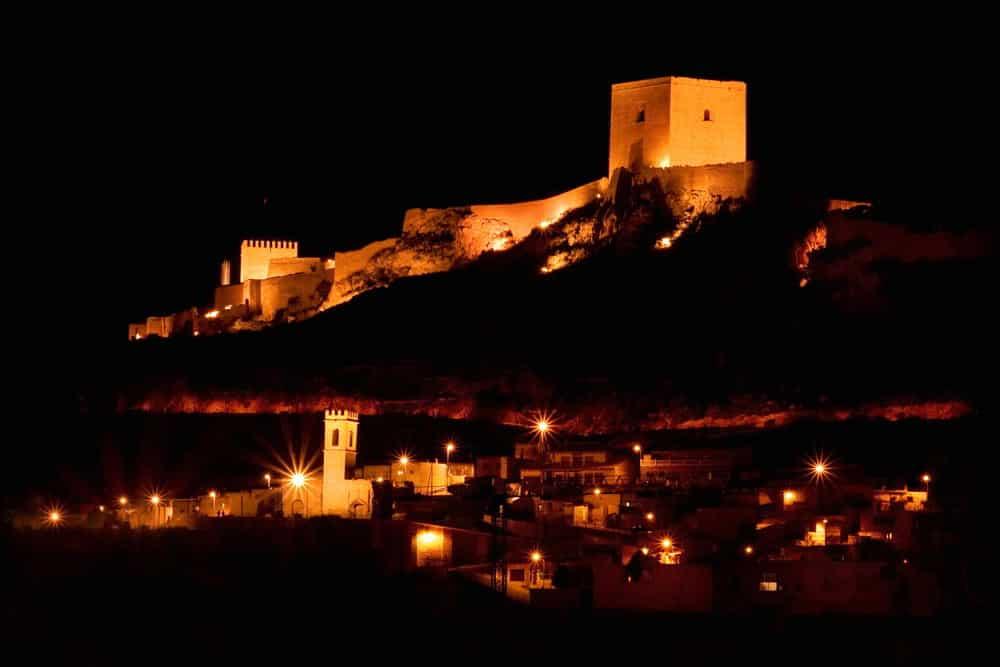 Castle of Lorca at night